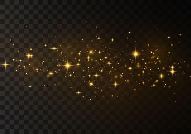 Staubfunken und sterne leuchten mit besonderem licht. funkelnde magische staubpartikel.