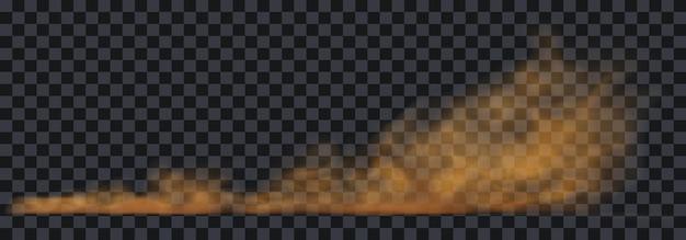 Staubsandwolke auf einer staubigen straße von einem auto. streuspur auf der strecke durch schnelle bewegung. transparente realistische vektorrendern-vorratillustration