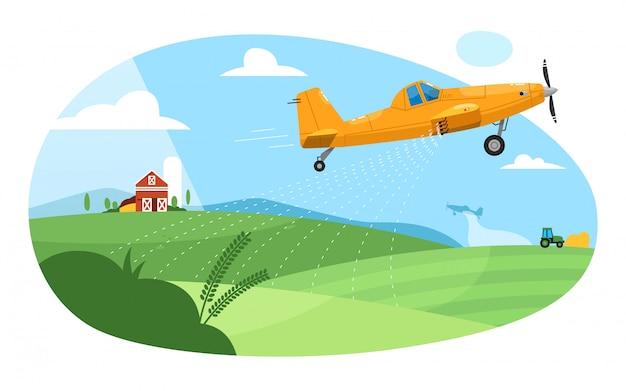 Staubwedel ernten. fliegendes flugzeugflugzeug, das farmfeld mit pestizidchemikalien besprüht. grüne ländliche ackerlandlandschaft mit scheune und staubwedel. landwirtschaftliche luftfahrt