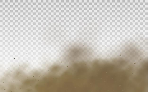 Staubwolke. braune staubige wolke oder trockener sand fliegen mit einem windstoß, sandsturm, rauch,
