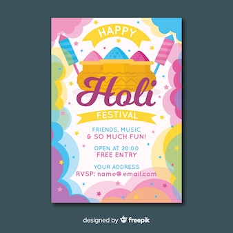 Staubwolke holi festival party poster