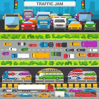 Stauvektortransportautofahrzeug und -bus in der hauptverkehrszeit auf autobahnstraßenvektorillustrationssatz der transportüberlastung von automobilen