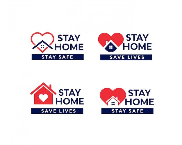 Stay home quarantäne coronavirus epidemie illustration set