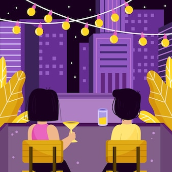 Staycation zu hause balkon illustration thema