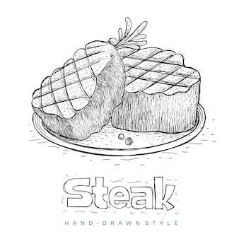 Steak auf fertig teller in der hand gezeichnet