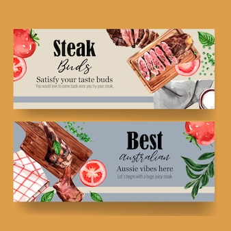 Steak banner design mit gegrilltem fleisch, zwiebel, basilikum aquarell illustration.