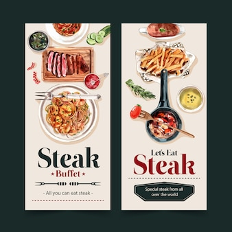 Steak flyer design mit spaghetti, steak aquarell illustration.