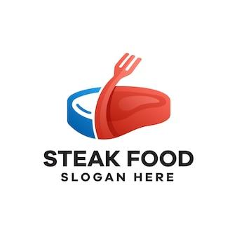 Steak food farbverlauf logo-design