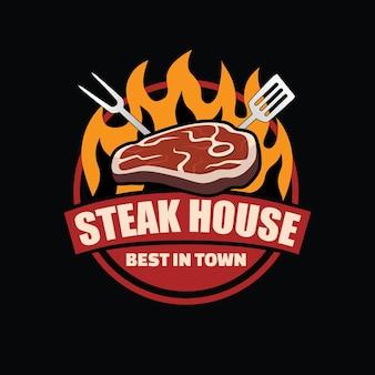 Steak logo design on fire