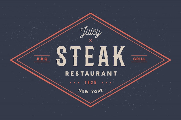 Steak, logo, fleischetikett. logo mit textsteak-restaurant, saftiges steak