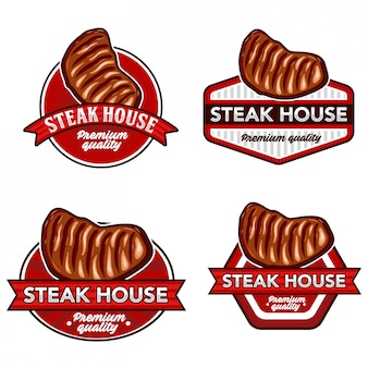 Steak logo lager vektor festgelegt