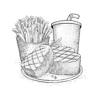 Steak paket essen in der hand gezeichnet