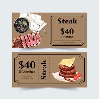 Steakgutscheinentwurf mit käse, steakaquarellillustration.