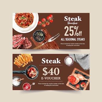 Steakgutscheinentwurf mit spaghetti, steak ,, pommes frites aquarellillustration.