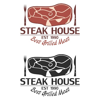 Steakhauslogo mit fleisch, messer und gabel. emblem-vorlage für restaurant, grillbar. vektor-illustration.