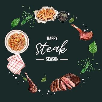 Steakkranzdesign mit gegrilltem fleisch, serviettenaquarellillustration