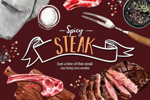 Steakrahmenentwurf mit gegrilltem fleisch, pfefferaquarellillustration.