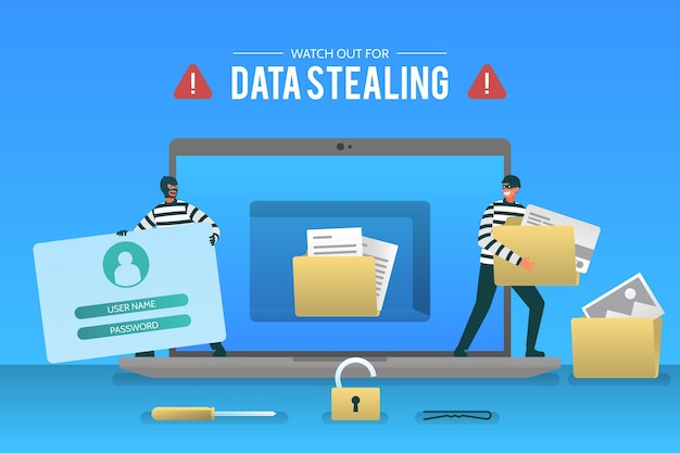 Steal data cyber attack-konzept