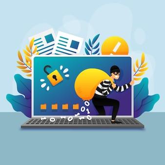 Steal data cyber attack-konzept