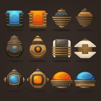 Steampunk-asset für ihr handyspiel, retro-sammlung futuristischer mechanischer objekte