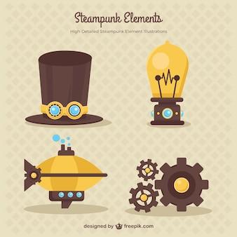 Steampunk-elemente gesetzt