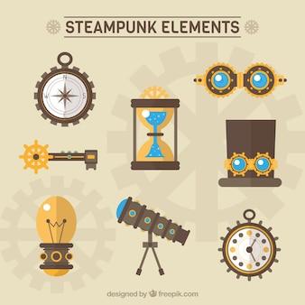 Steampunk-elemente packen in flaches design