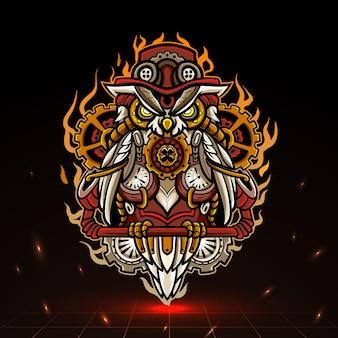 Steampunk eule maskottchen esport logo design