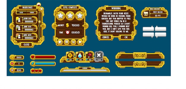 Steampunk game gui