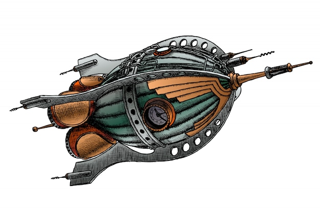Steampunk-rakete. vektorillustration