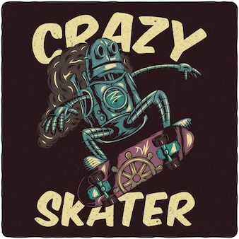 Steampunk-roboter, der auf skateboard reitet