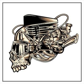 Steampunk schädel illustration