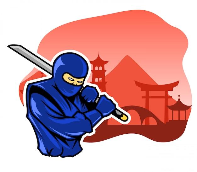 Steay ninja front der japanischen traditionellen gebäudefassade.