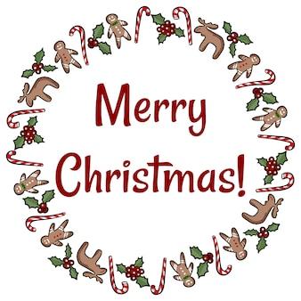 Stechpalme- und ingwerplätzchenkranz der frohen weihnachten