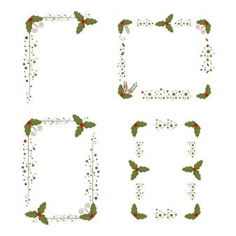 Stechpalmenbeerenrahmen weihnachten verzierte die elemente, die auf einem weiß lokalisiert wurden.
