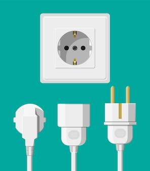 Steckdose mit mehreren angeschlossenen kabeln. elektrische bauteile. wandsteckdose mit steckern. vektorillustration im flachen stil