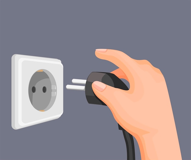 Stecken sie den elektrischen stecker von hand in die steckdose in der wand. strom-energieeinsparungssymbol in der karikaturillustration