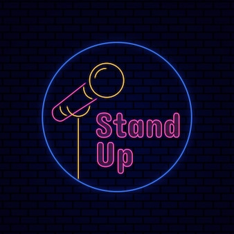 Steh auf, neon-effekt-zeichen