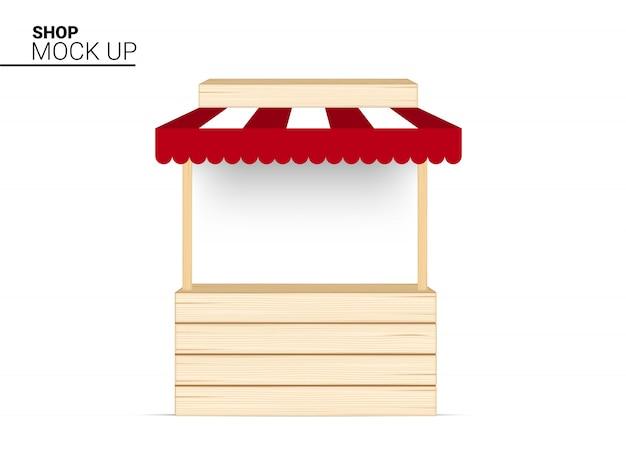 Stehen sie hölzernen shop, innenkiosk, speicher-markisen-anzeige für verkaufs-marketing-förderungs-ausstellung auf weißer illustration aus