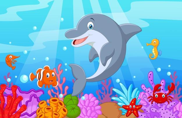 Stehende delphin-illustration mit sammlungsfischen
