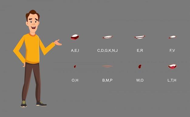 Stehende haltung des zufälligen mannes mit der lippensynchronisierung stellte für ihr design, bewegung und animation ein