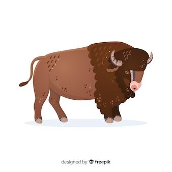 Stehende illustration der büffelkarikatur