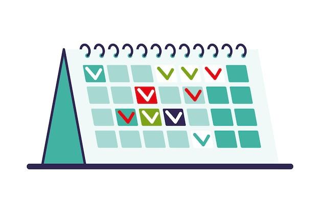 Stehende kalendervorlage. businessplan und zeitmanagementkonzept. flache artvektorillustration.