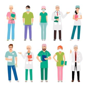 Stehende leute des medizinischen personals lokalisiert. heilpraktiker-doktor und gesundheitswesen pflegen vektorillustration