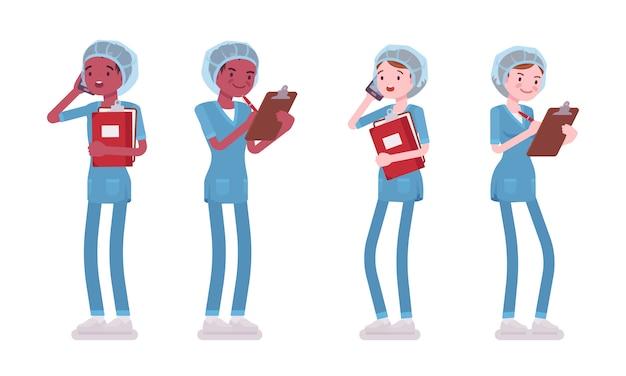 Stehende männliche und weibliche krankenschwester. junge arbeiter in krankenhausuniform mit telefon, pfleger mit zwischenablage. medizin, gesundheitskonzept. stilkarikaturillustration, weißer hintergrund