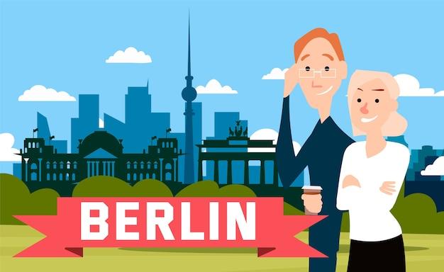 Stehende menschen werden vor dem hintergrund berlins fotografiert.