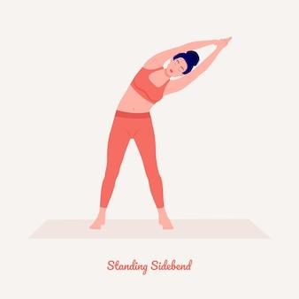 Stehende seitenbeuge yoga-pose junge frau, die yoga-übung praktiziert