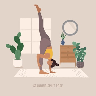 Stehende split-pose junge frau, die yoga-pose praktiziert