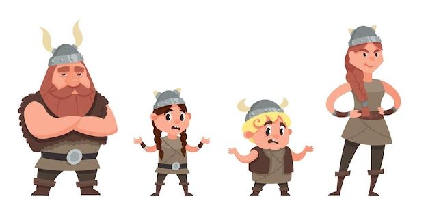 Stehende wikingerfamilie. charaktere im cartoon-stil.
