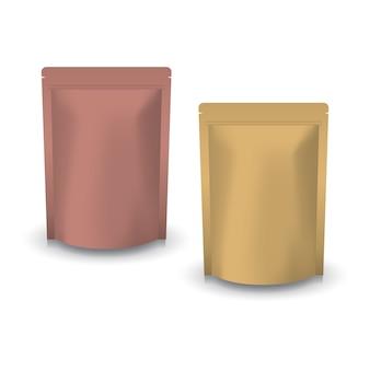 Stehender druckverschlussbeutel aus kupfer und braunem kraftpapier für lebensmittel.