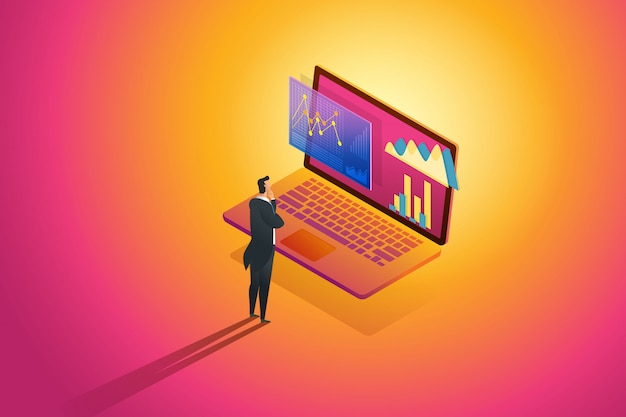 Stehender geschäftsmann sieht analysedaten und finanzbericht der investitionsinfografik auf laptop aus. illustration